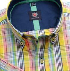 Willsoor Pánská slim fit košile London (výška 176-182) 6453 s barevnou kostkou a límečkem na knoflíčky