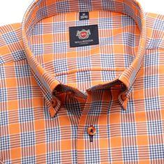 Willsoor Pánská slim fit košile London (výška 176-182) 6359 s krátkým rukávem a barevnou kostkou