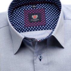 Willsoor Pánská slim fit košile London (výška 176-182) 6309 v modré barvě s klasickým límečkem a formulí Easy