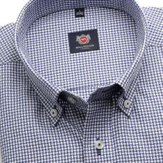 Willsoor Pánská klasická košile London (výška 176-182) 6259 s modrou kostkou a formulí Easy Care