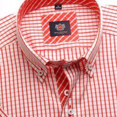 Willsoor Pánská košile WR London s krátkým rukávem v bílé barvě s červenou kostkou (výška 176-182) 5123