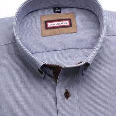 Willsoor Pánská Slim Fit košile (výška 176-182) 6118 s jemnou modrou kostkou a formulí 2W Plus