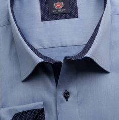Willsoor Pánská klasická košile London (výška 176-182 i 188-194) 6910 v modré barvě s formulí Easy Care