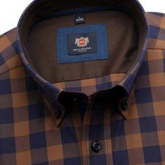 Willsoor Pánská slim fit košile London (výška 176-182) 6106 v hnědé barvě s kostkou a formulí Easy Care