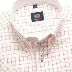 Willsoor Pánská slim fit košile London (výška 176-182) 6386 v bílé barvě s červenou kostkou