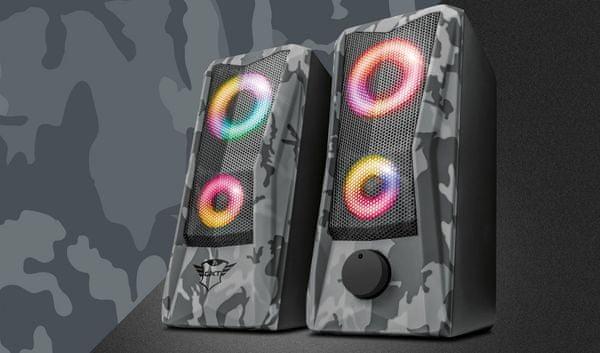 Głośniki Trust GXT 606 Javv (23379), moc 6 W, RGB, 3,5 mm jack USB, camouflage print
