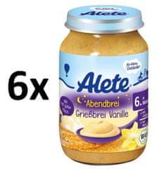 ALETE BIO večerná semolinová kaša s vanilkovou príchuťou 190 g (6x190 g)