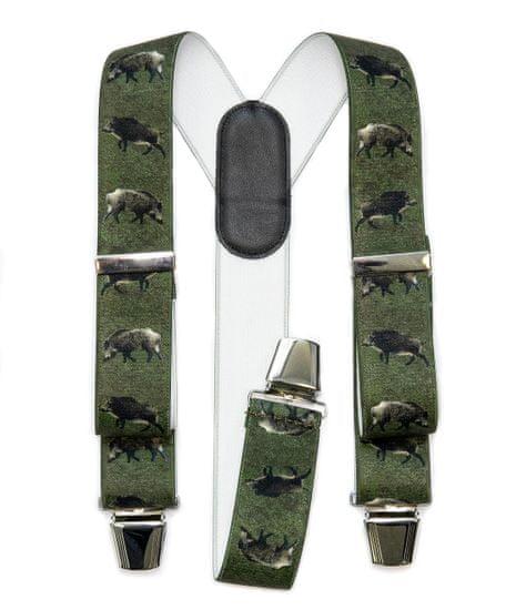 FREI Pánské kšandy s motivem divočáka, kožený zádový díl s kovovou sponou