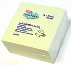 Staples samolepilni lističi v kocki, rumeni listi, 76 x 76 mm