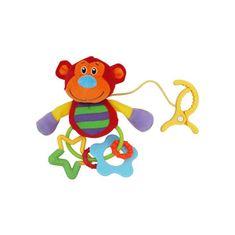 Baby Mix Plyšová hračka s hrkálkou Baby Mix opička s klipom Červená