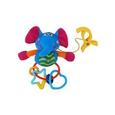 Baby Mix Plyšová hračka s hrkálkou Baby Mix sloník Modrá
