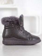 Exkluzívní šedo-stříbrné dámské kotníčkové boty bez podpatku