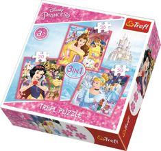 Trefl 3v1 Disney princezny: Kúzelný svet 20 dielikov