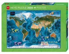 Heye Puzzle 2000 dílků Satellite Map of the world