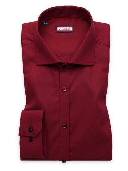 Willsoor Pánská košile Extra Slim Fit bordó barvy s hladkým vzorem 11392