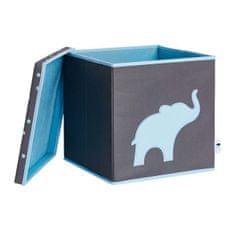 Love It Store It Úložný box na hračky s krytem - šedý, modrý slon