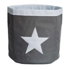 Love It Store It Velký úložný box, kulatý - šedý, bílá hvězda