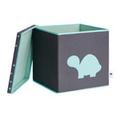 Love It Store It Úložný box na hračky s krytem - šedý, zelená želva