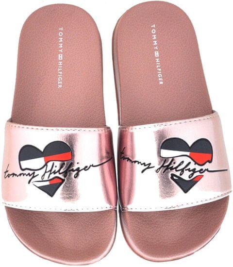 Tommy Hilfiger dievčenské papuče T3A0-30677-0632341 35 zlatá