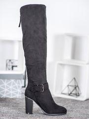 Komfortní kozačky dámské černé na širokém podpatku