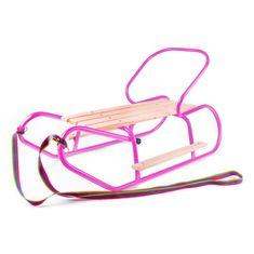 BAYO Kovové sáňky s opěradlem a opěrkami na nohy BAYO růžové