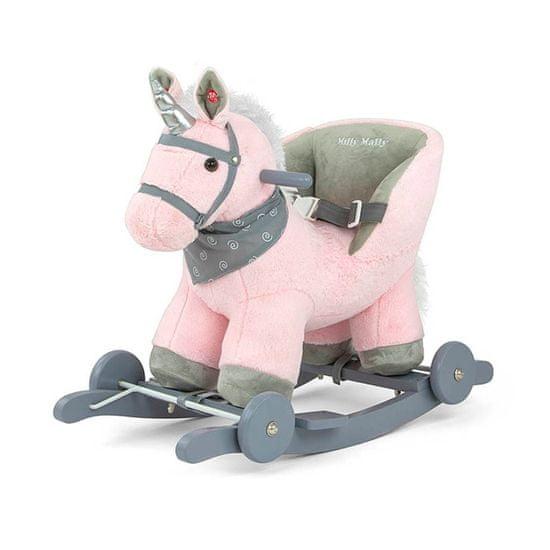 MILLY MALLY Houpací koník s melodií a kolečky Milly Mally Polly růžový