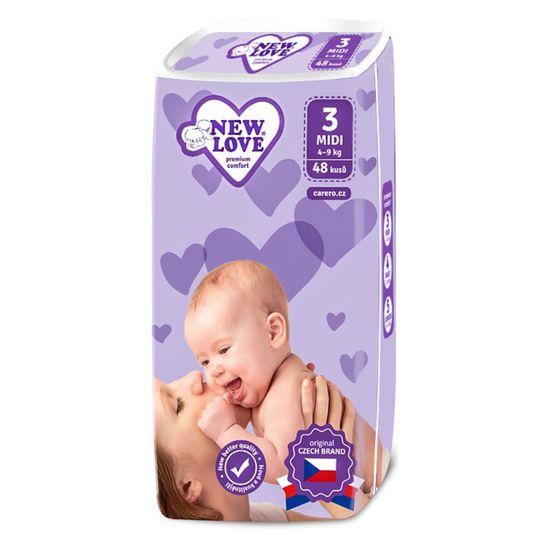 New Love Dětské jednorázové pleny New Love Premium comfort 3 MIDI 4-9 kg 48 ks