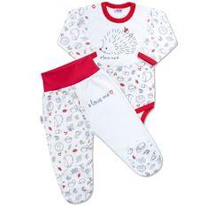 NEW BABY Kojenecká bavlněná souprava New Baby Hedgehog červená - Kojenecká bavlněná souprava New Baby Hedgehog červená