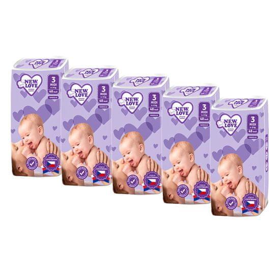New Love MEGAPACK Dětské jednorázové pleny New Love Premium comfort 3 MIDI 4-9 kg 5x48 ks