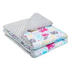 NEW BABY Dětská deka z Minky New Baby bílo-šedá 80x102 cm