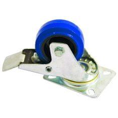 Akcesoria kółka obrotowe, Zestaw obrotowy Blue Wheel z hamulcem, 80 mm