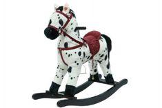 Teddies Kůň houpací bíločerný plyš na baterie 71cm se zvukem a pohybem nosnost 50kg v krabici