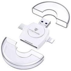 Viking OTG čtečka paměťových karet SD a microSD 4v1 s koncovkou APPLE Lightning / microUSB / USB 3.0 / USB-C VR4V1W, bílá
