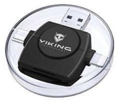 Viking OTG čítačka pamäťových kariet SD a microSD 4v1 s koncovkou APPLE Lightning / microUSB / USB 3.0 / USB-C VR4V1B, čierna