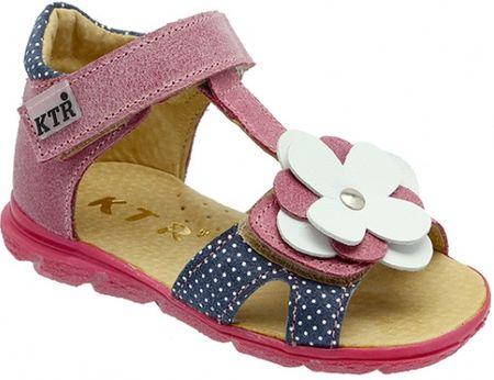 KTR skórzane sandały dziewczęce 119/138/DORIS/BA, 26 różowe