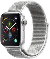 Apple Watch Series 4 40mm strieborný hliník s bielym prevliekacím športovým remienkom