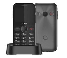 Alcatel 2019G mobilni telefon, s postajom za punjenje, metalno crna