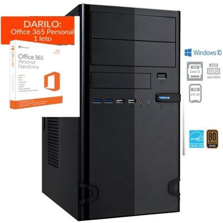 PCplus namizni računalnik e-office i3-8100/4GB/SSD240GB/W10H + DARILO: 1 leto Office 365 Personal (137584)