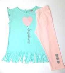 Kashamida Dívčí roztomilý letní set- tričko a legíny KASHAMIDA - 92-98/Tyrkysová/100% Bavlna