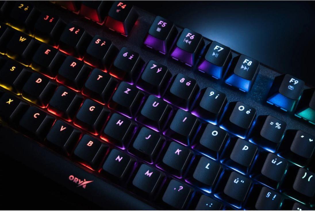 Niceboy ORYX K300X, CZ (Oryx-k-300x) mechanická herná klávesnica RGB podsvietenie drôtová kovová konštrukcia membrána odolnosť proti nečistotám
