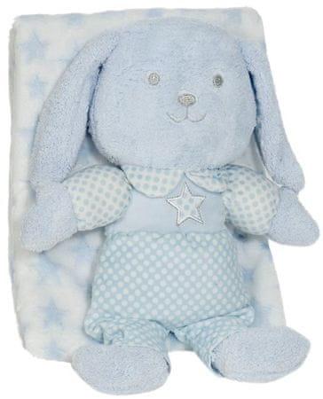 Interbaby odeja z zajčkom, 80×110, modra
