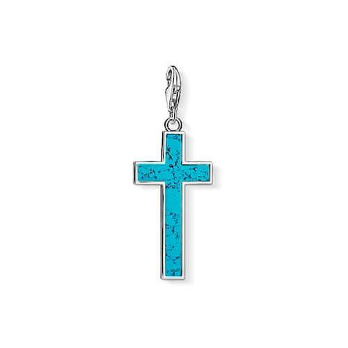 """Thomas Sabo Přívěsek """"Tyrkysový kříž"""" , Y0021-404-17, Charm Club, 925 Sterling silver, simulated turquoise"""