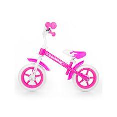 MILLY MALLY Detské odrážadlo kolo Milly Mally Dragon s brzdou pink Ružová