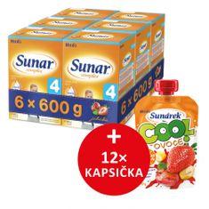 Sunar dojčenské mlieko Complex 4 jahoda - 6 x 600g