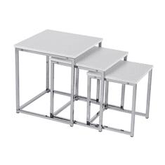 TEMPO KONDELA Set 3 konferenčných stolíkov, biela matná/chróm, MAGNO TYP 3