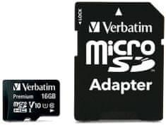 VERBATIM Premium microSDHC 16GB UHS-I V10 U1 + SD adaptér (44082)