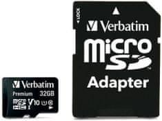 Verbatim microSD kartica, 32 GB, HC Class 10, z adapterjem
