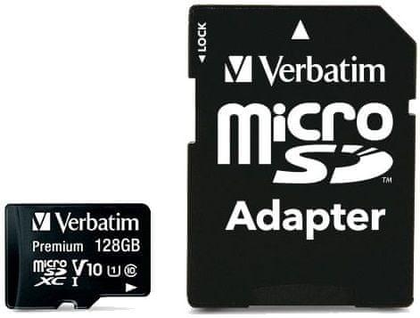VERBATIM Premium microSDXC 128GB UHS-I V10 U1 + SD adaptér (44085)
