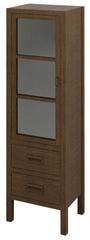 SAPHO BRAND skříňka 2 šuplíky, prosklená dvířka 40x140x30cm, levá, mořený smrk (BA031)