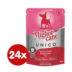 Miglior mokra karma dla psa Unico MINI, saszetki, szynka 24 x 80 g